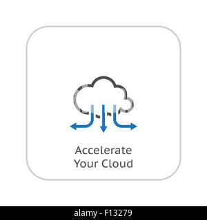 Accelerate Your Cloud Icon. Business Concept. Flat Design. Isolated Illustration. - Stock Photo