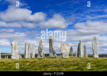 Callanish standing stones (gaelic Calanais)  Stones on Isle of Lewis in the Outer Hebrides in Scotland - Stock Photo