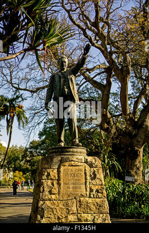 A statue of Cecil John Rhodes at Companys Gardens in Cape Town, South Africa - Stock Photo