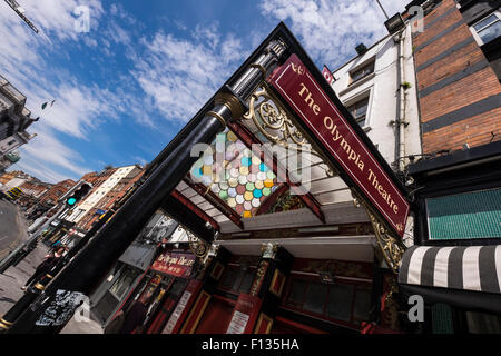 The cast iron and stained glass canopy at the entrance to the Olympia Theatre on dame Street in Dublin, Ireland. - Stock Photo