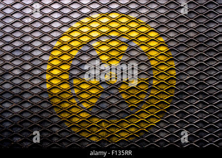 Element of nuclear background on black grid steel. - Stock Photo