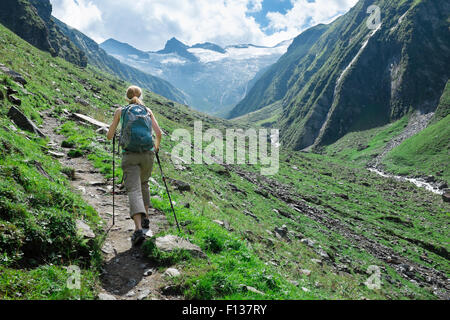 Hiking in Habachtal, Tirol, Austria - Stock Photo
