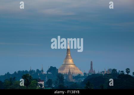 Shwedagon Pagoda in distance, Yangon, Myanmar. November 2012. - Stock Photo