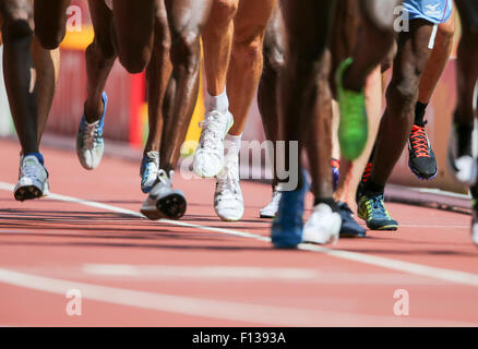 Beijing, China. 26th Aug, 2015. Athletes competes during the Men's 5000 m Round 1 of the 15th International Association - Stock Photo