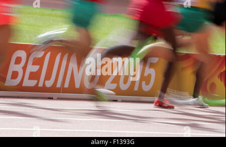 Beijing, China. 26th Aug, 2015. Athletes compete during the Men's 5000 m Round 1 of the 15th International Association - Stock Photo