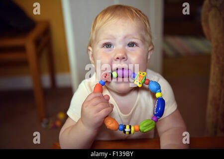 An eleven month old baby chewing on a plastic teething ring to alleviate the pain and discomfort of tooth ache. - Stock Photo