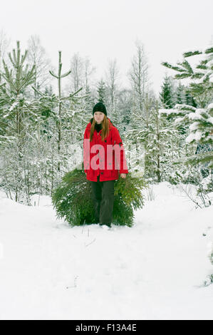 Bringing home a Christmas tree - Stock Photo