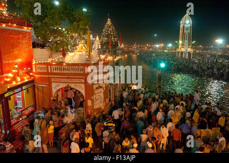 Kumbh Mela, a large Hindu pilgrimage, in which Hindus gather to bathe in the Ganges, Haridwar, India. April 2010. - Stock Photo