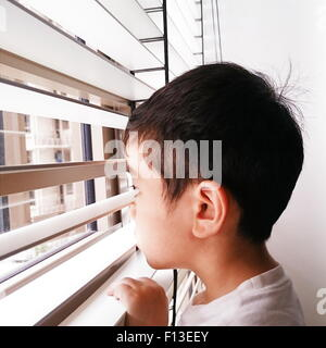 Portrait of a boy looking through the window