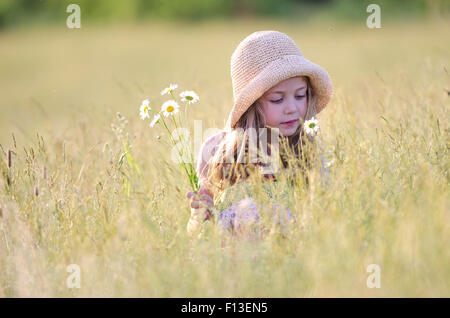 Girl picking wildflowers in meadow - Stock Photo