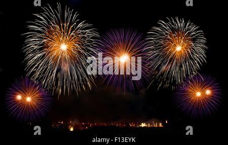 Firework display, Zurrieq, Malta - Stock Photo