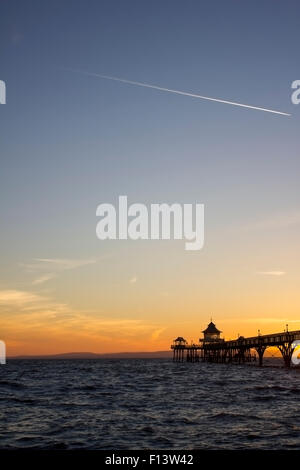 Clevedon pier at sunset - Stock Photo