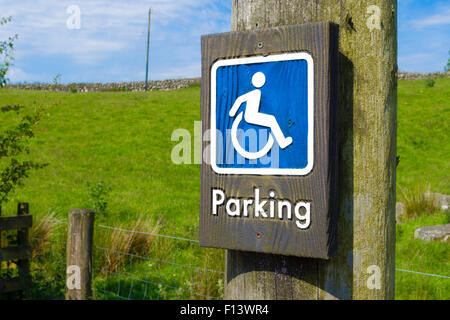 Disabled Parking Space Sign, UK - Stock Photo