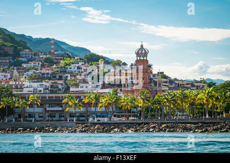View at El Centro with church Our Lady of Guadalupe, Banderas Bay Coast Line, Puerto Vallarta, Mexico - Stock Photo