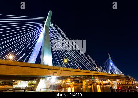 Zakim Bunker Hill bridge in Boston, MA by night - Stock Photo