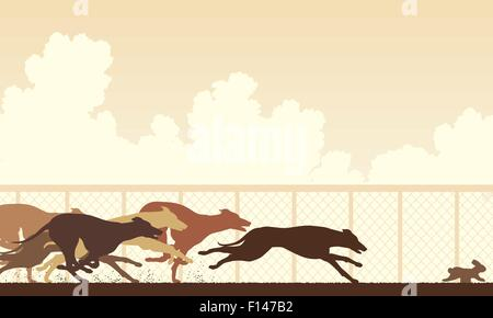 EPS8 editable vector illustration of greyhound dogs racing around a track - Stock Photo