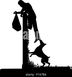 EPS8 editable vector silhouette of a guard dog stopping a thief from escaping over a high garden wall with figures - Stock Photo