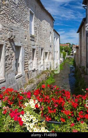 Bouteville village beside river, Charente Maritime, south west France - Stock Photo
