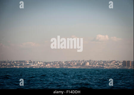 Gaza City viewed from 3 kilometers out into the Mediterranean. - Stock Photo