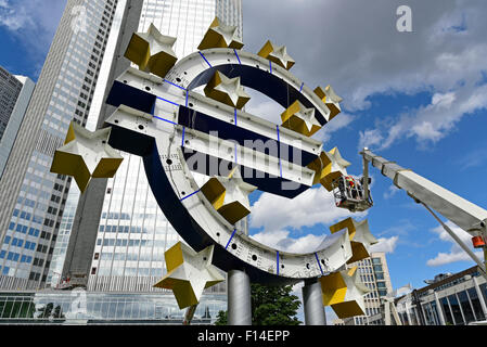 Symbolic image, restructuring the euro, former european Central Bank ECB behind, euro Tower ECB, Frankfurt am Main, - Stock Photo