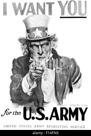 1910s WORLD WAR ONE I WANT YOU UNCLE SAM UNITED SSTATES ARMY RECRUITING POSTER BY ARTIST J.M. FLAGG - Stock Photo