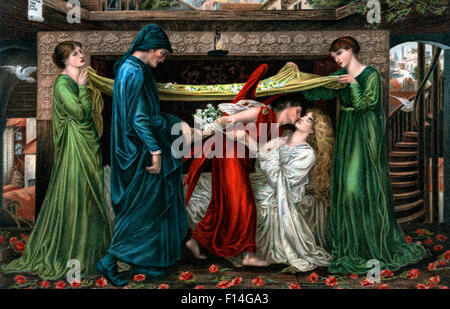 1800s 1871 PAINTING BY DANTE GABRIEL ROSETTI TITLED DANTE'S DREAM AT THE TIME OF THE DEATH OF BEATRICE - Stock Photo