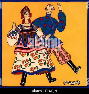 1920s 1930s RUSSIAN COUPLE IN COLORFUL TRADITIONAL COSTUMES FOLK DANCING ARTIST A.SCHADRINE - Stock Photo
