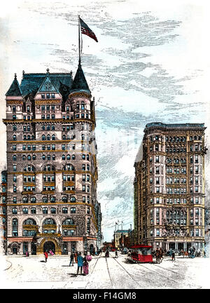 1890s HOTELS SHERRY AND THE SAVOY AS THEY WILL STAND AT FIFTH AVENUE AND 59th STREET MANHATTAN NYC USA - Stock Photo