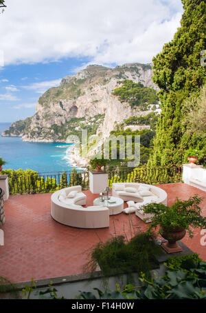 View from a luxurious terrace on the island of Capri, Italy - Stock Photo