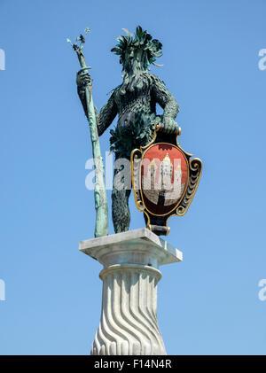 Wilder Mann (Wild Man) statue near the Grosses Festspielhaus in Salzburg, Austria Europe - Stock Photo