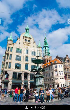 Amagertorv square, along Stroget, with stork fountain, Copenhagen, Denmark - Stock Photo