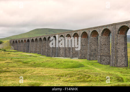Famous Ribblehead Viaduct in Yorkshire Dales National Park - Stock Photo