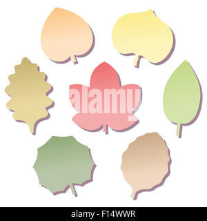 Leave shaped notepads in seven different autumn colors. Illustration on white background. - Stock Photo