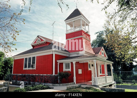 The historic little red Santa Clara School was built in 1896 and still serves elementary students in kindergarten - Stock Photo