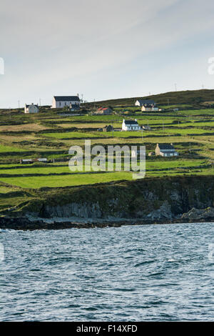 Fields and houses on Cape Clear Island off the west coast of Cork in Ireland - Stock Photo