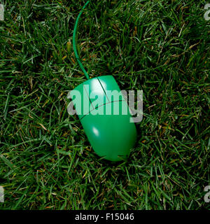 USA, Utah, Orem, Green computer mouse on grass - Stock Photo
