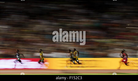 Beijing, China. 27th Aug, 2015. Athletes compete during the men's 200m final at the 2015 IAAF World Championships - Stock Photo