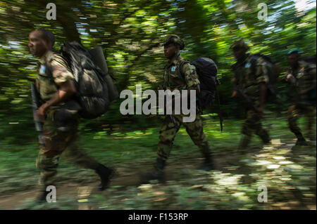 Eco-guards from African Parks on patrol. Mbomo, Odzala-Kokoua National Park, Republic of Congo (Congo-Brazzaville), - Stock Photo