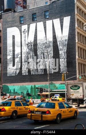 NEW YORK CITY, USA - MAY 17: 2008.Iconic DKNY Ad on Houston Street. The brick wall of the building bordering the - Stock Photo
