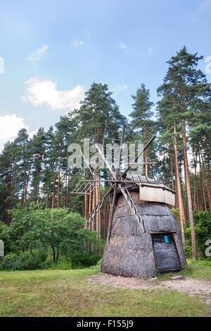 Windmill from Dervinieki at the Latvian Ethnographic Open Air Museum (Latvijas Etnogrāfiskais Brīvdabas Muzejs), - Stock Photo