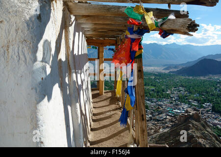 Elevated view of Leh city and Leh Palace from Namgyal Tsemo Gompa, Leh, Ladakh, Jammu and Kashmir, India Stock Photo