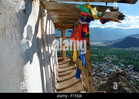 Elevated view of Leh city and Leh Palace from Namgyal Tsemo Gompa, Leh, Ladakh, Jammu and Kashmir, India
