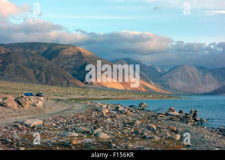 Pangong Lake or Pangong Tso, Ladakh, Jammu and Kashmir, India - Stock Photo