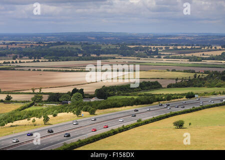 M40 Motorway Passing through the Chiltern Hills in South Oxfordshire, England - Stock Photo