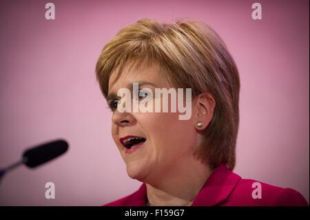 Edinburgh, UK. 27th August, 2015.  Scotland's First Minister Nicola Sturgeon speaks at the Edinburgh International - Stock Photo