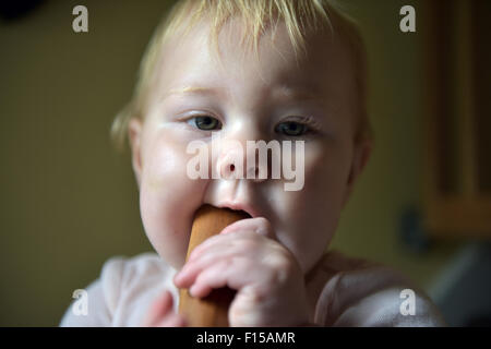 An eleven month old baby chewing on a wooden kitchen spoon to alleviate the pain and discomfort of tooth ache. - Stock Photo