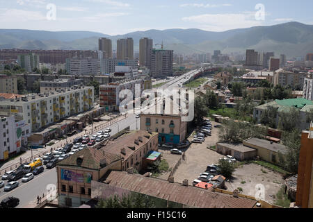Downtown Ulaanbaatar Mongolia. - Stock Photo
