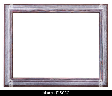 silver and violet painted wide wooden picture frame with blank canvas isolated on white background - Stock Photo