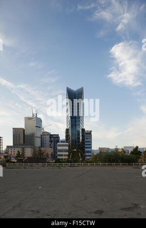 Blue Sky Hotel and Tower, downtown Ulaanbaatar Mongolia. - Stock Photo