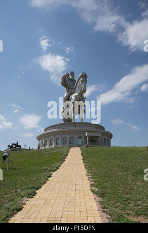 Giant statue of Ghenngis Khaan in Erdene, Töv Province, Mongolia. Chinggis Khan, Genghis Khan. - Stock Photo